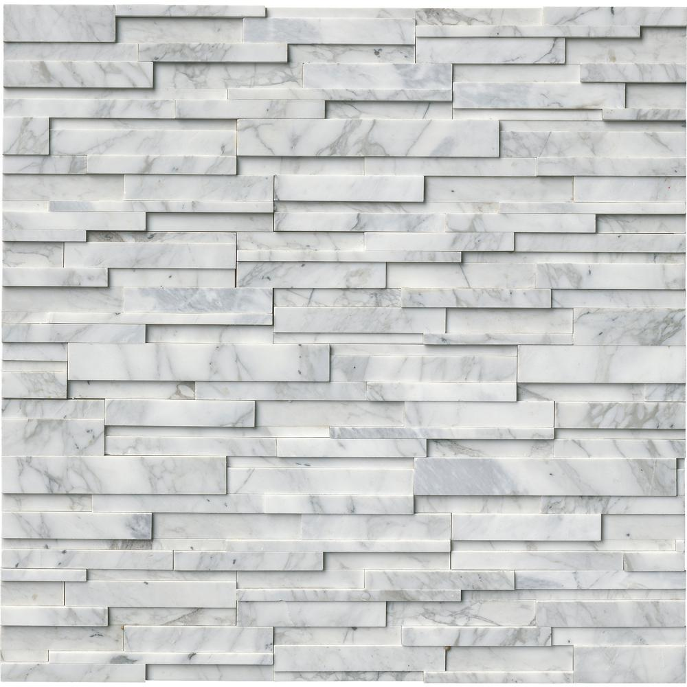 MSI Calacatta Cressa 3D Ledger Panel 6 in. x 24 in. Honed Marble Wall Tile (10 cases / 60 sq. ft. / pallet)