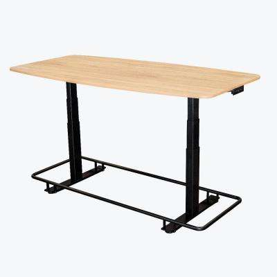 72 in. White Oak Electric Adjustable Conference Table with Footrest Bar