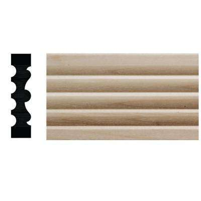 1123D 1/2 in. x 2-1/8 in. x 6 in. Hardwood White Unfinished Reversible Fluted Victorian Casing Moulding Sample