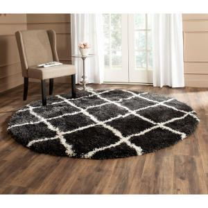 Safavieh Belize Shag Charcoal/Ivory 6 ft. 7 inch x 6 ft. 7 inch Round Area Rug by Safavieh