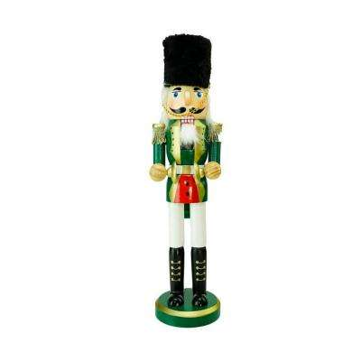 14 in. Green, Gold and White Wooden Christmas Cymbalist Nutcracker