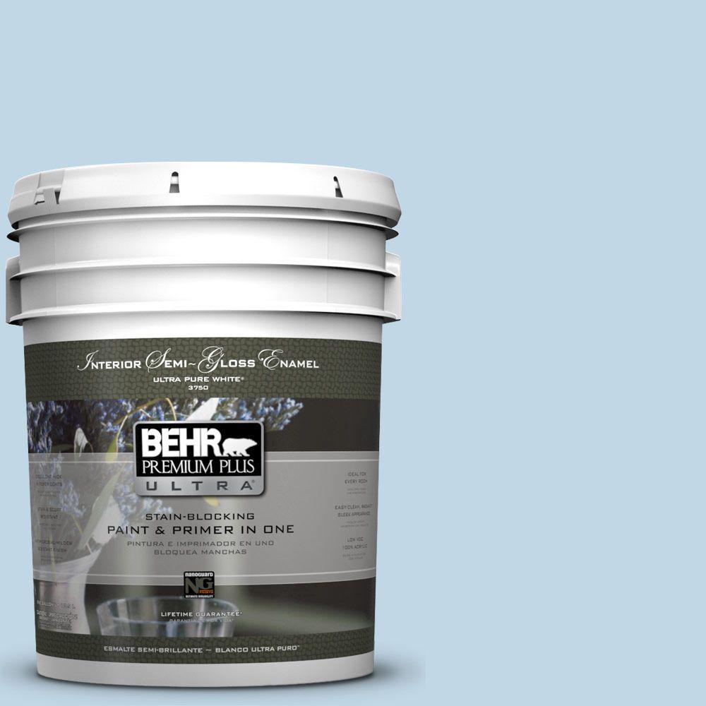 BEHR Premium Plus Ultra 5-gal. #S500-1 Distant Shore Semi-Gloss Enamel Interior Paint