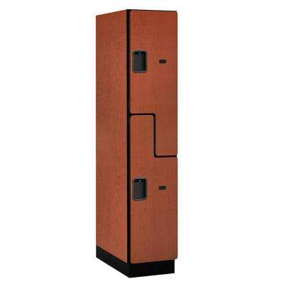 """27000 Series Double-Tier """"S"""" Style 24 in. D 2-Compartments Extra Wide Designer Particle Board Locker in Cherry"""