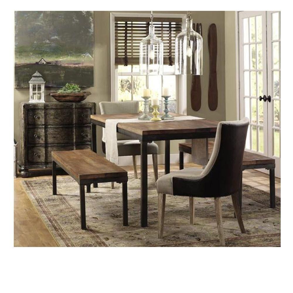 Home Decorators Collection Becca Brown Linen and Leather Dining ...
