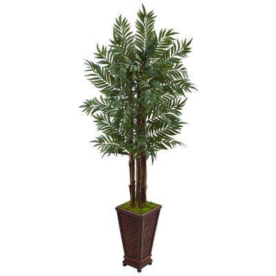 Indoor Parlor Palm Artificial Tree in Wooden Decorated Planter