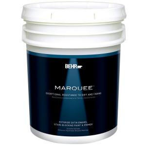 Behr marquee 5 gal ultra pure white satin enamel exterior Behr marquee exterior paint reviews