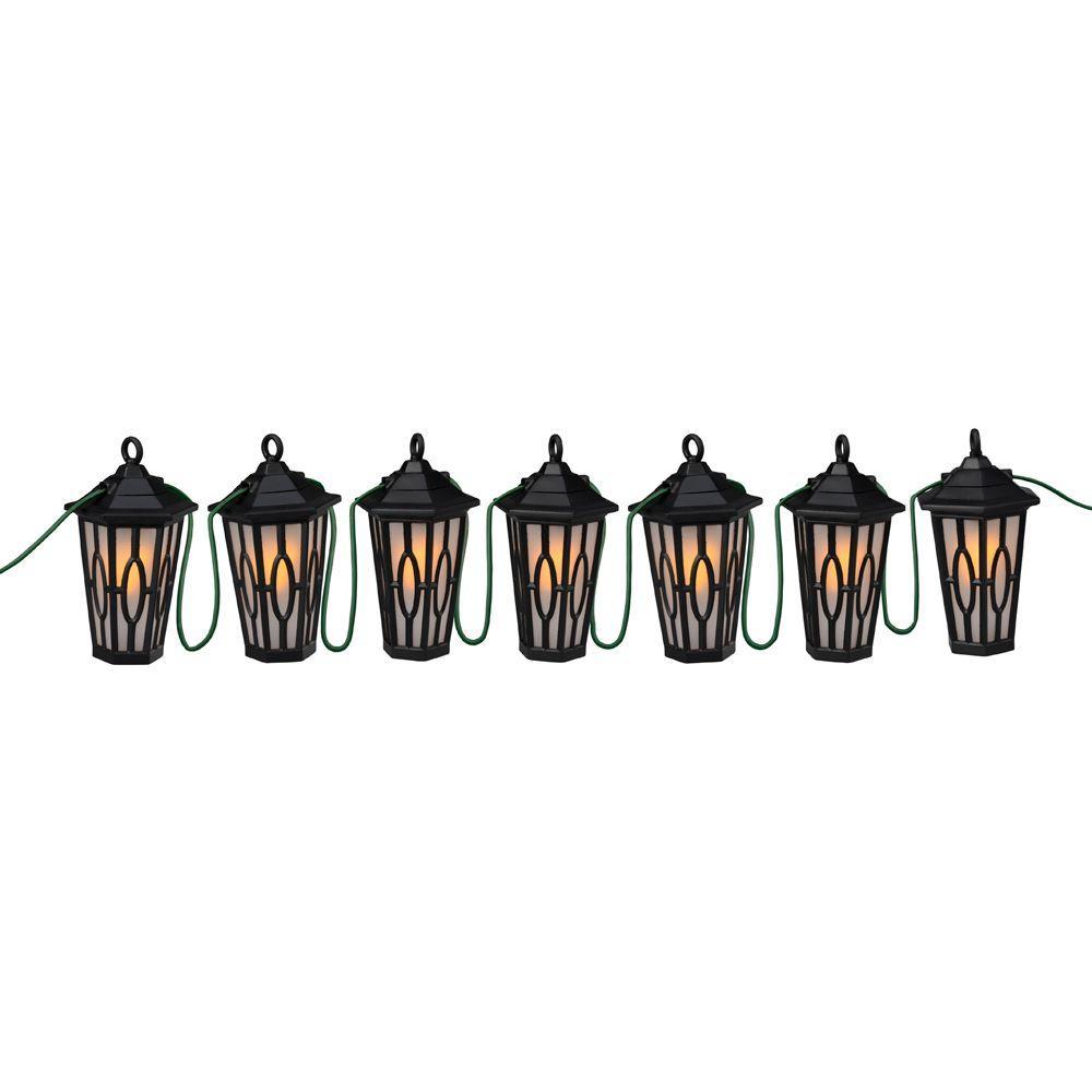 Patio Lights 7-Light Black LED Carousel String Lanterns