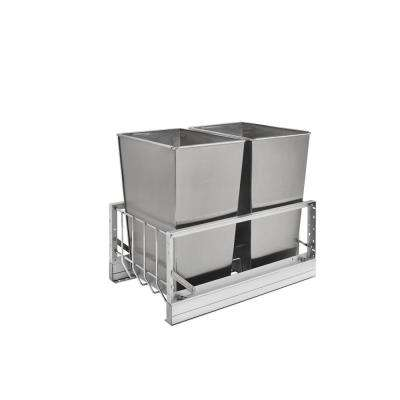 18.813 in. H x 14.813 in. W x 22.125 in. D Double 32 Qt. Pull-Out Brushed Aluminum and Stainless Steel Waste Container