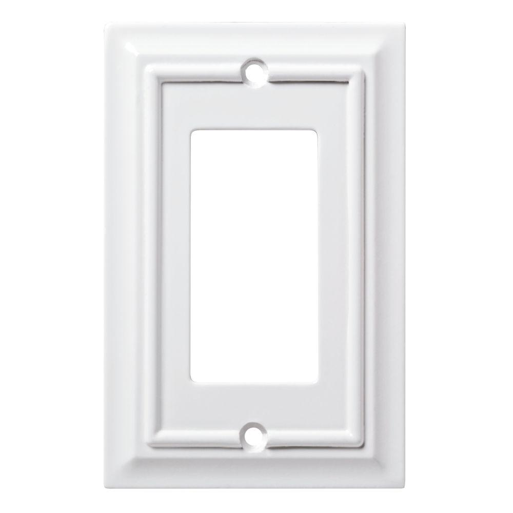 Architectural Wood Decorative Single Rocker Switch Plate, White (4-Pack)