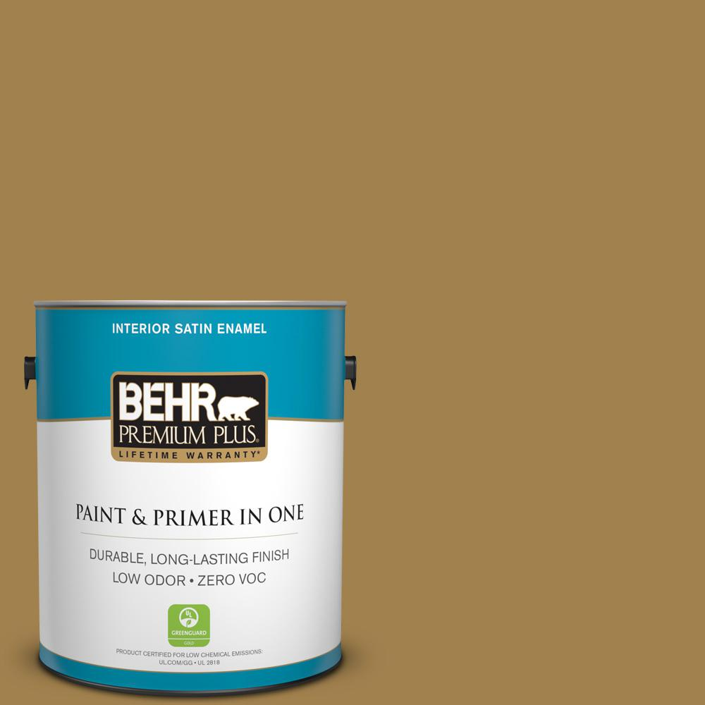 1-gal. #340F-7 Woven Basket Zero VOC Satin Enamel Interior Paint