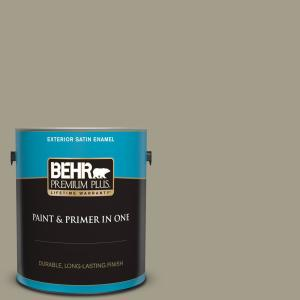 Behr Premium Plus 1 Gal Pmd 57 Fossil Stone Satin Enamel Exterior Paint And Primer In One 940001 The Home Depot