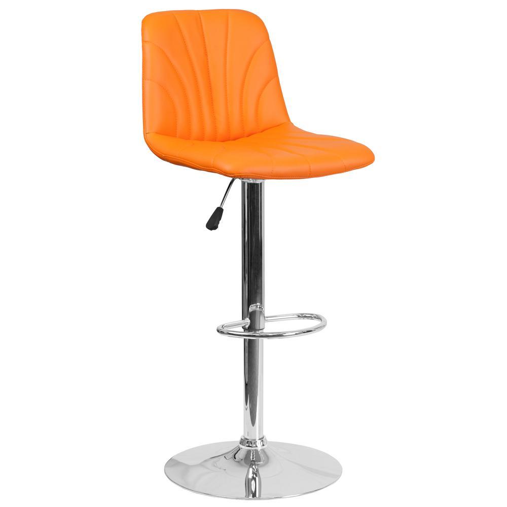 33.25 in. Adjustable Height Orange Cushioned Bar Stool
