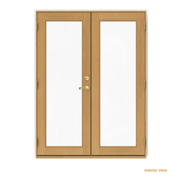 60 in. x 80 in. W-2500 White Clad Wood Right-Hand Full Lite French Patio Door w/Stained Interior