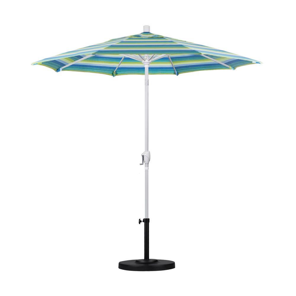 California Umbrella 7.5 ft. White Aluminum Pole Market Aluminum Ribs Push Tilt Crank Lift Patio Umbrella in Seville Seaside Sunbrella
