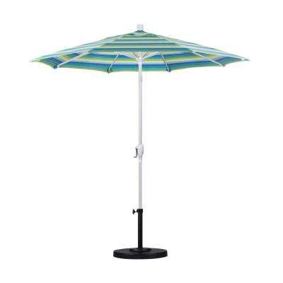 7.5 ft. White Aluminum Pole Market Aluminum Ribs Push Tilt Crank Lift Patio Umbrella in Seville Seaside Sunbrella