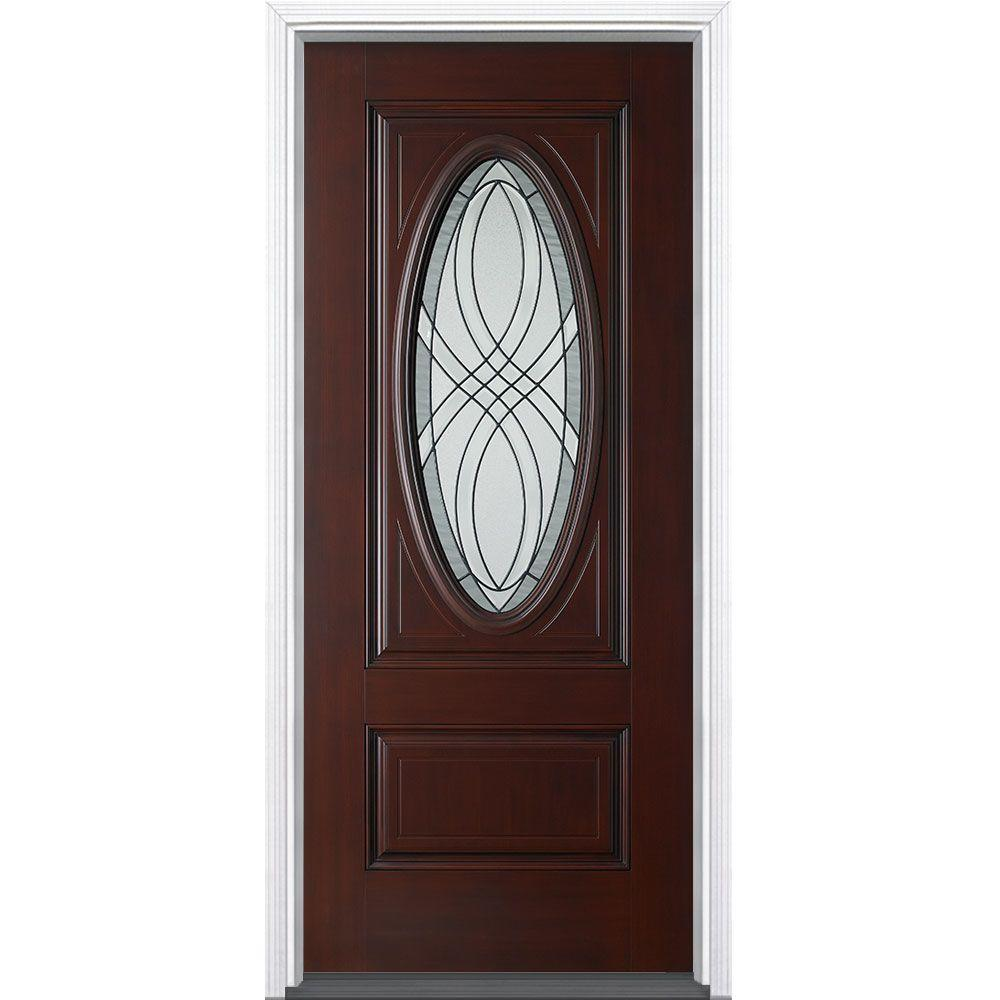 36 in. x 80 in. Everland Cianne 3/4 Oval Cherry Right-Hand