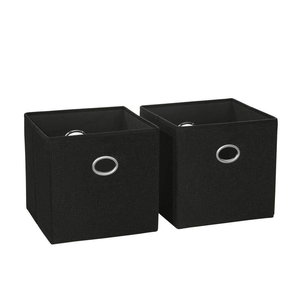 10.5 in. x 10 in. Black Folding Storage Bin (2-Pack)