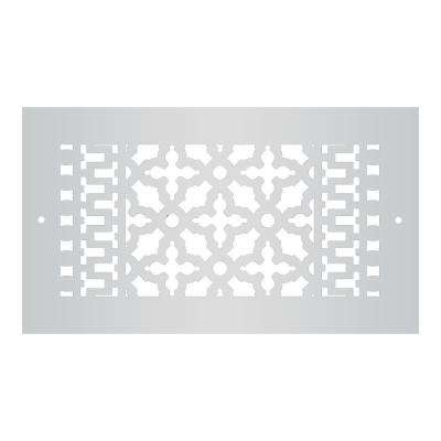 Scroll Series 12 in. x 6 in. Aluminum Grille, Gray with Mounting Holes