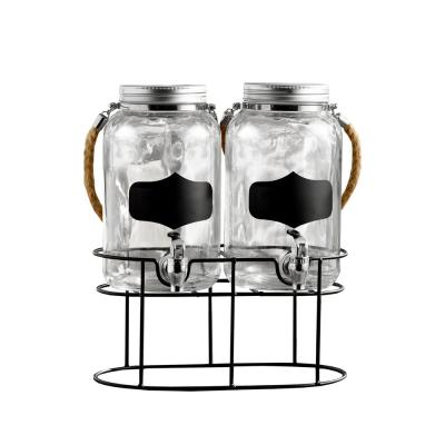Trent Chalkboard Beverage Dispenser Set with Stand and Rope Handle