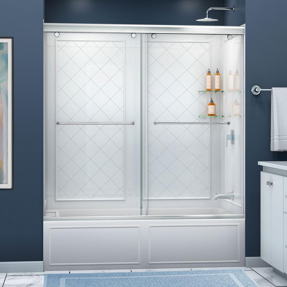STERLING Deluxe 57-3/4 in. x 56-1/4 in. Framed Sliding Tub/Shower ...