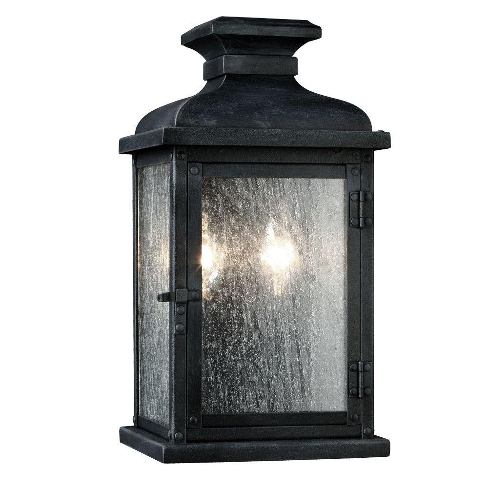 Pediment 6.75 in. W. 2-Light Dark Weathered Zinc Outdoor 12.5 in. Wall Fixture