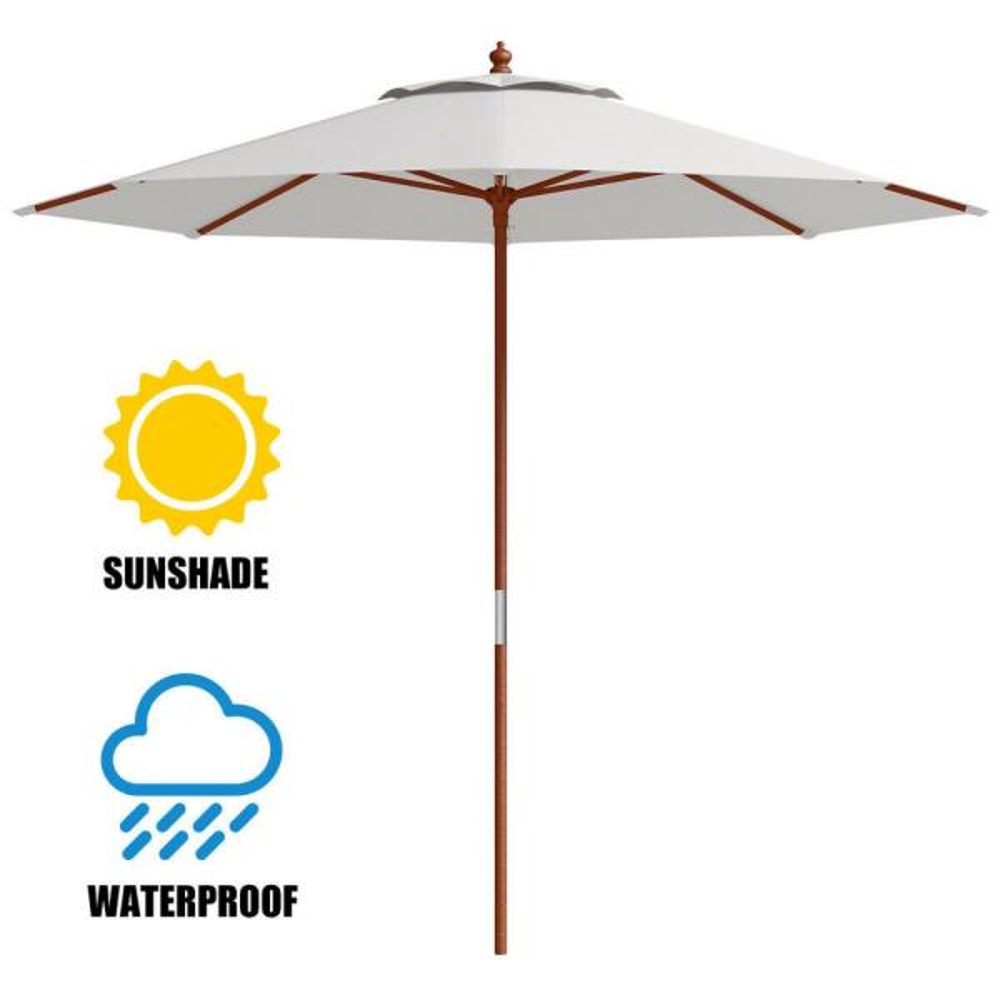 8/' 9/' 13/' Outdoor Patio Wood Umbrella Wooden Pole Market Beach Garden Sun Shade