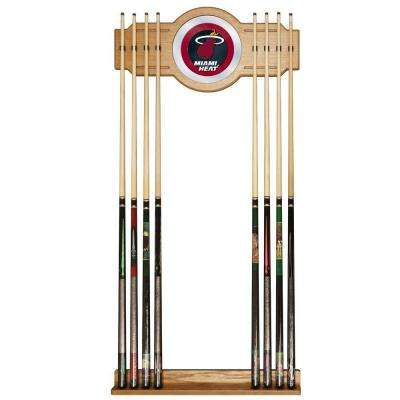 Miami Heat NBA 30 in. Wooden Billiard Cue Rack with Mirror
