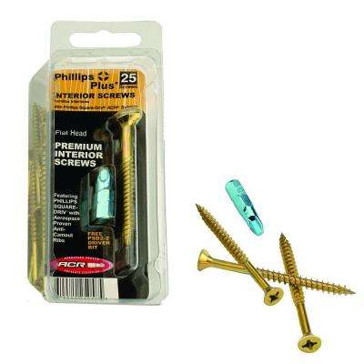 #10 4 in. Phillips-Square Flat-Head Wood Screws (25-Pack)