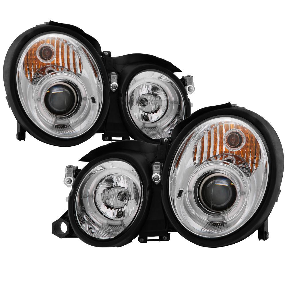 Spyder Auto Mercedes Benz CLK 98-02 Projector Headlights - Halogen Model  Only - LED Halo - Chrome