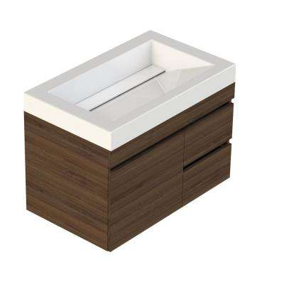 Viteli Plus Genova 31 in. W x 19 in. D Vanity in Walnut with Cultured Marble Vanity Top in White with White Basin