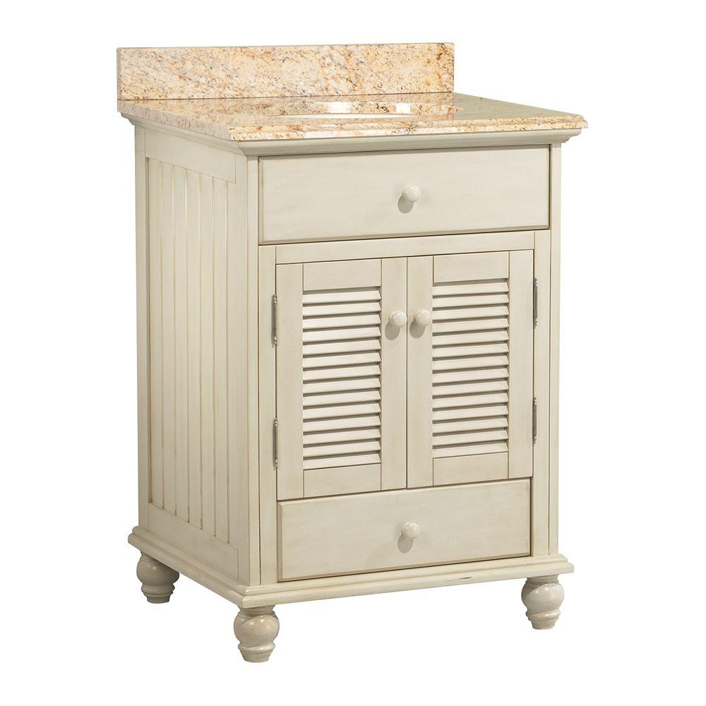 Foremost Cottage 25 in. W x 22 in. D Vanity in Antique White with Vanity Top and Stone Effects in Tuscan Sun