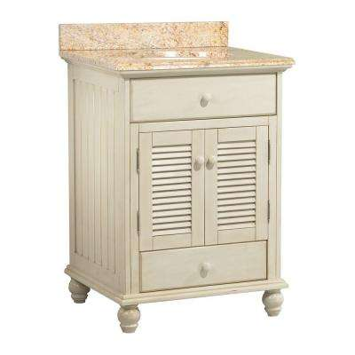 Cottage 25 in. W x 22 in. D Vanity in Antique White with Vanity Top and Stone Effects in Tuscan Sun