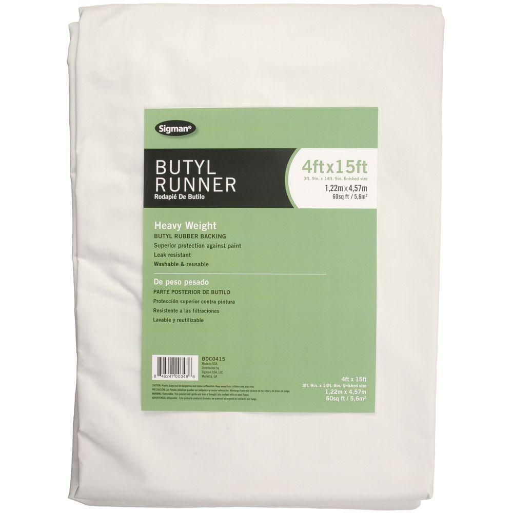 Sigman 3 Ft 9 In X 14 Ft 9 In Butyl Drop Cloth Runner Bdc0415