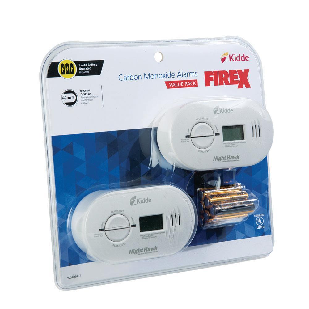 Kidde Carbon Monoxide Alarm Detector Digital Display Battery Operated Model 2 pc