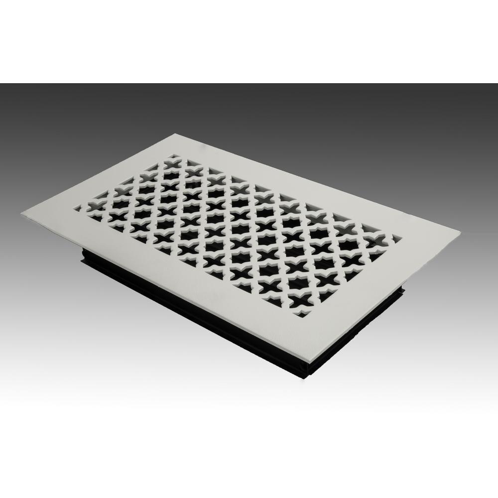 12 in. x 6 in. White Poweder Coat Steel Floor Vent with Opposed Blade Damper