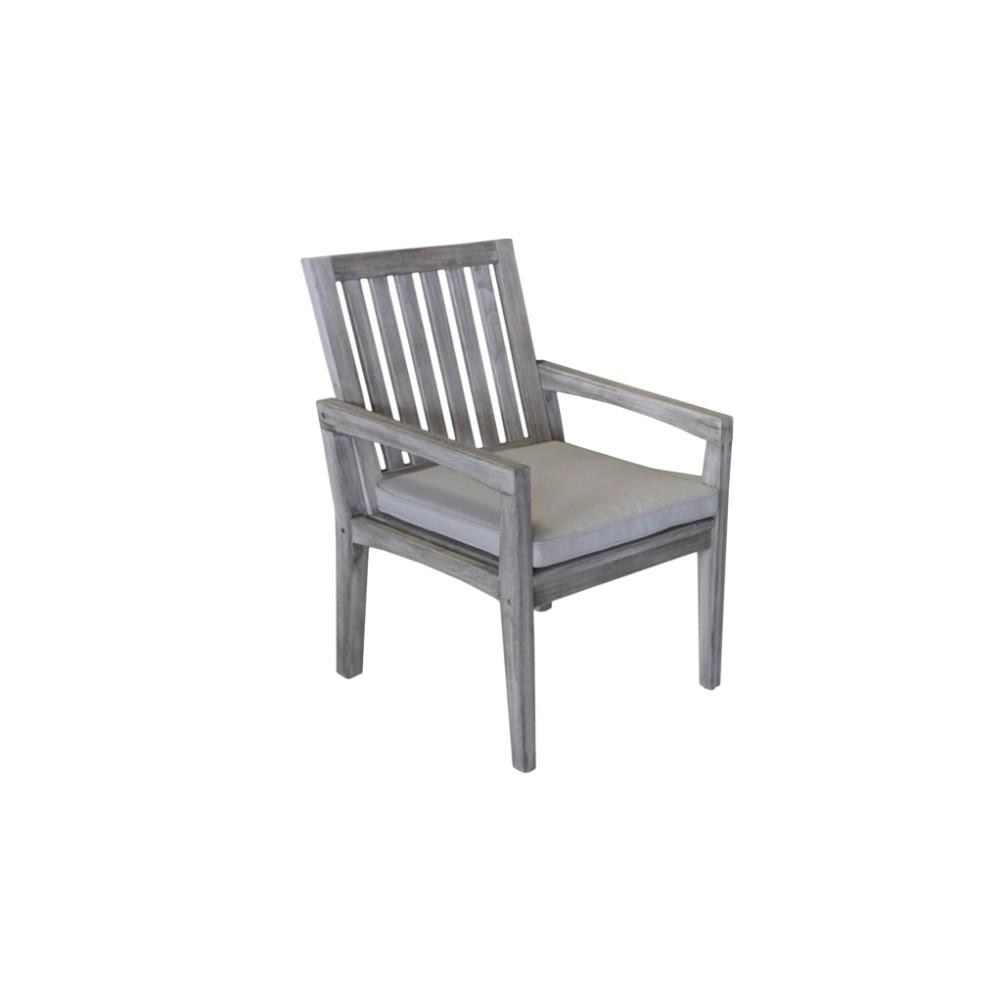 Courtyard Casual Surf Side Collection Teak Outdoor Dining Chair with Sand Cushions