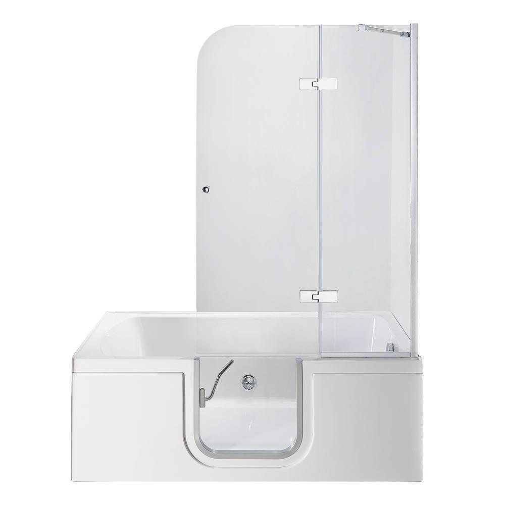 Laydown 60 in. Walk-in Whirlpool Bathtub in White with RHS Hinged Middle Glass Door, Glass Door Screen, 2 in. RHS Drain