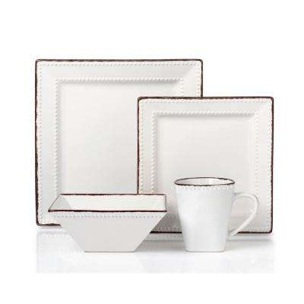 16-Piece White Square Beaded Stoneware Dinnerware Set