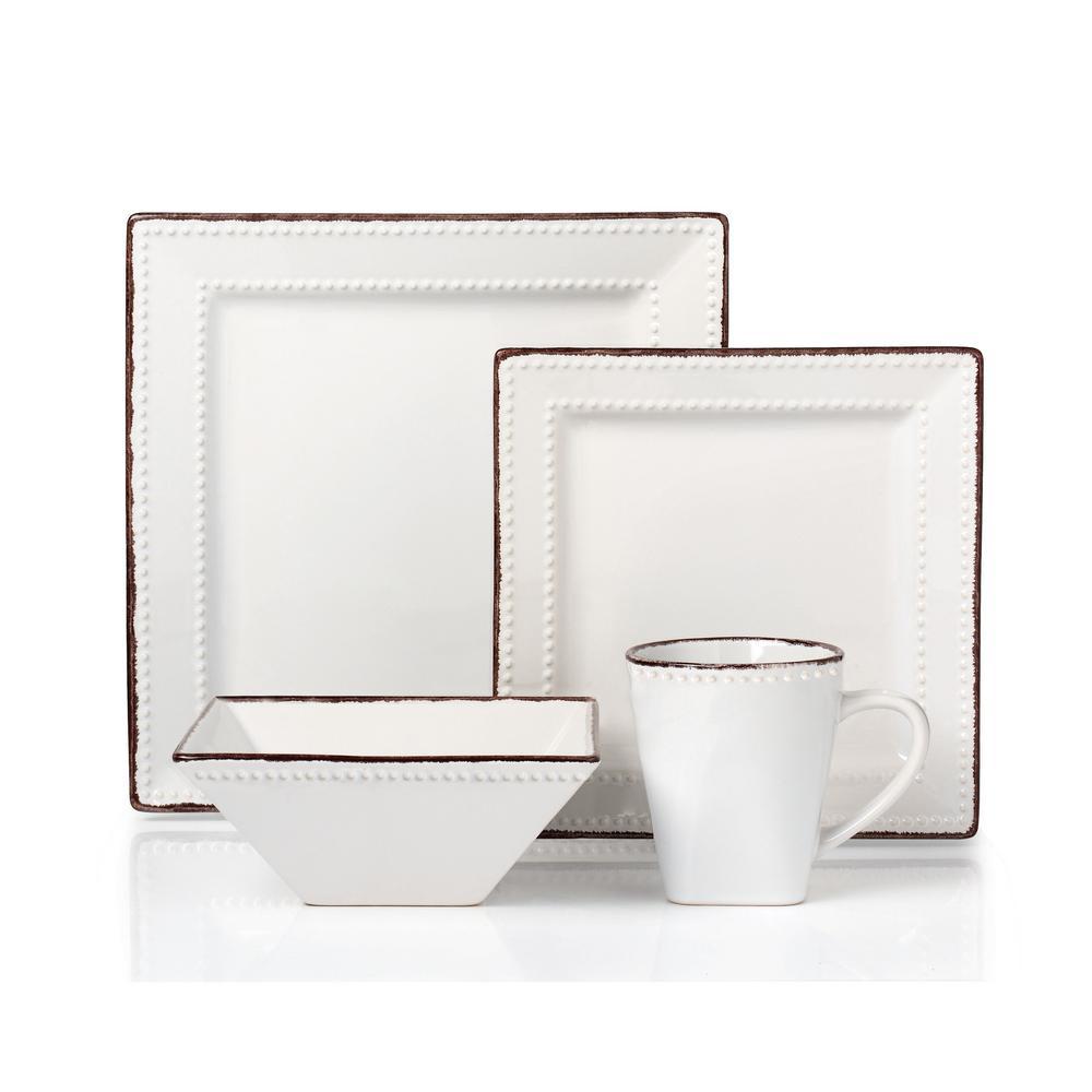 Lorren Home Trends 16-Piece White Square Beaded Stoneware Dinnerware Set LH500