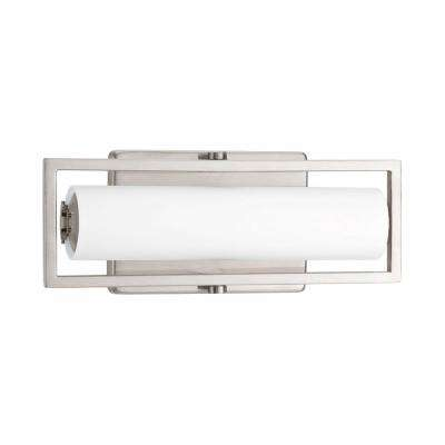 Frame Collection 15-Watt Brushed Nickel Integrated LED Bathroom Vanity Light with Glass Shades