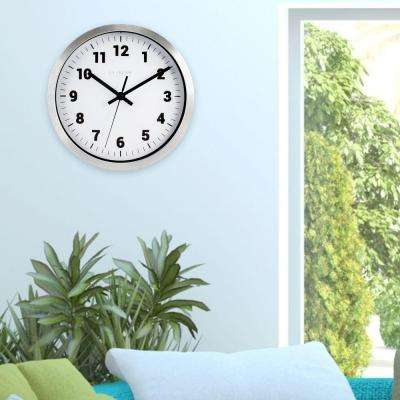 10 in. H Silver Metal Analog Wall Clock with White Dial