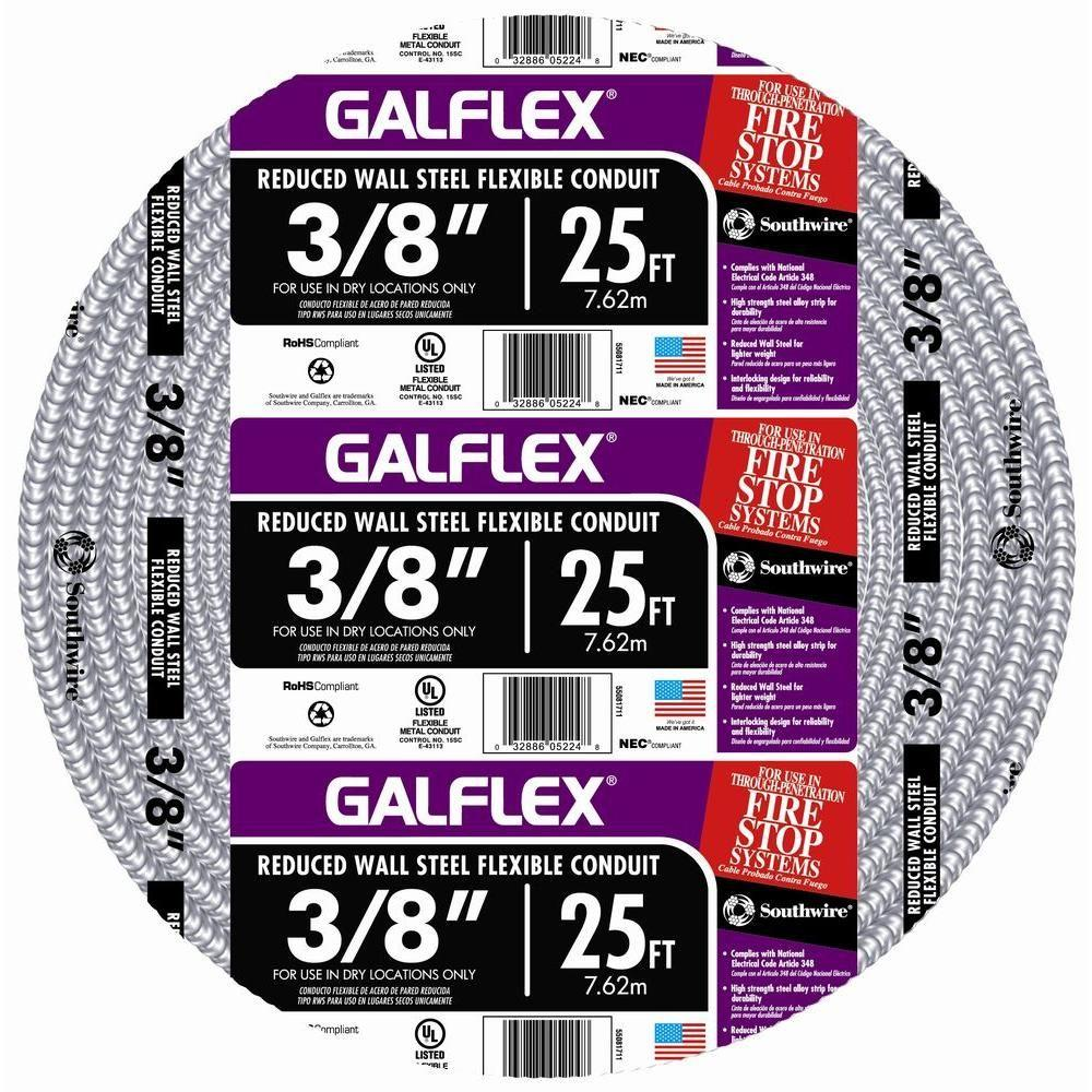 Southwire 3/8 in. x 25 ft. Galflex RWS Metallic Armored Steel Flexible Conduit