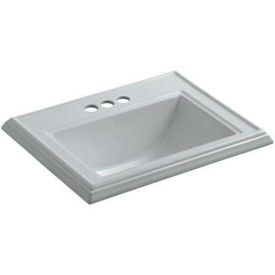 Memoirs Drop-In Vitreous China Bathroom Sink in Ice Grey with Overflow Drain