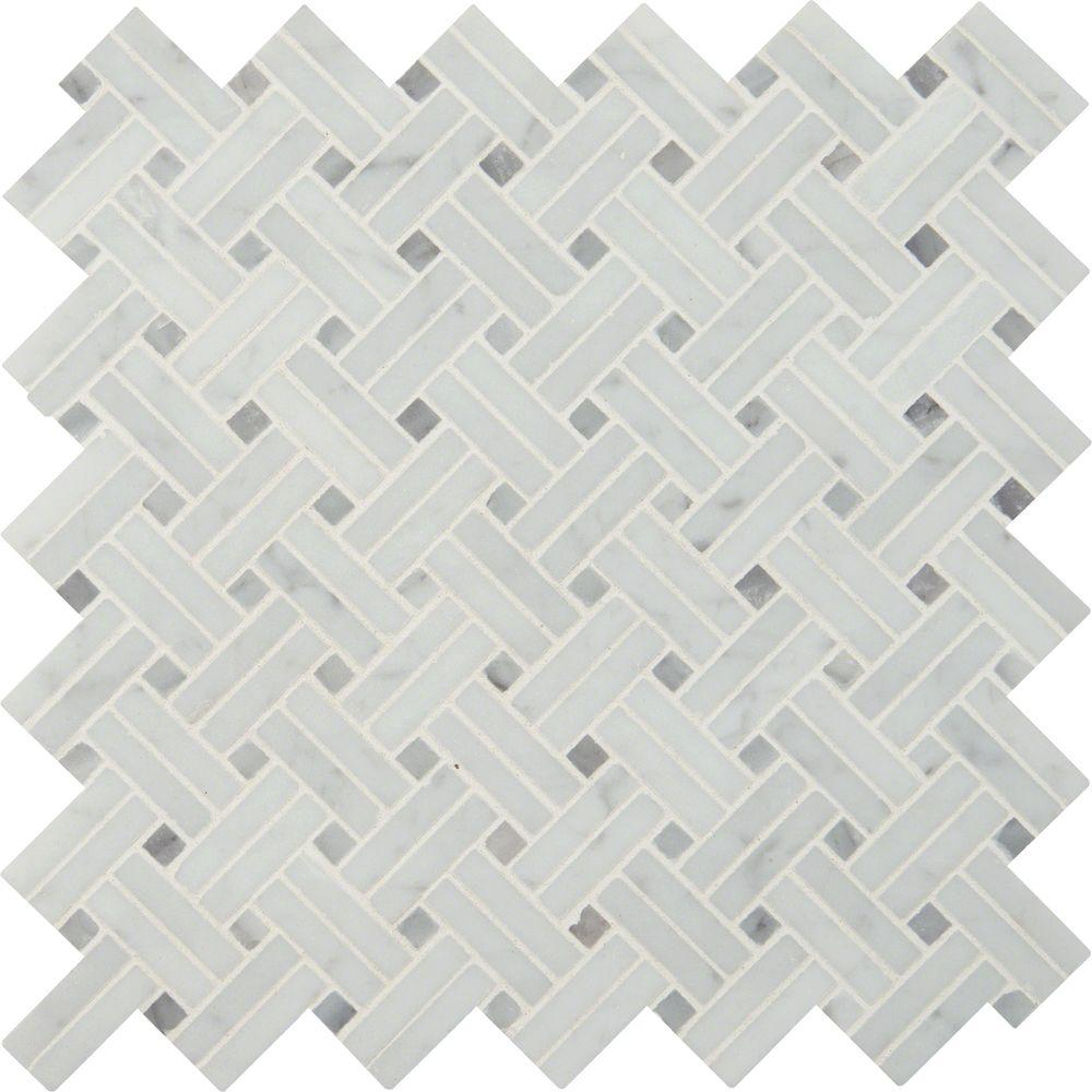 Msi carrara white basketweave 12 in x 12 in x 10 mm polished msi carrara white basketweave 12 in x 12 in x 10 mm polished marble mesh mounted mosaic tile 10 sq ft case smot car bw2p the home depot dailygadgetfo Choice Image