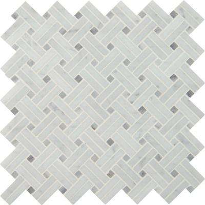 Carrara White Basketweave 12 in. x 12 in. x 10 mm Polished Marble Mesh-Mounted Mosaic Tile (10 sq. ft. / case)