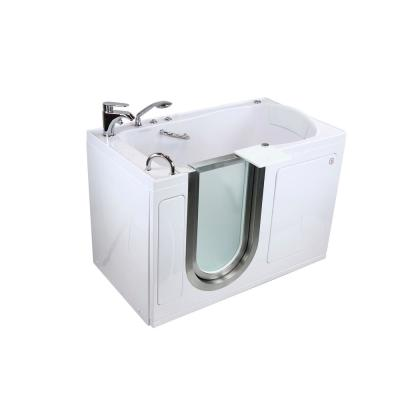 Royal 52 in. Walk-In Whirlpool and MicroBubble Air Bath Bathtub in White LH Door Fast Fill Faucet Heated Seat Dual Drain