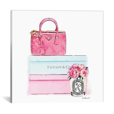 """""""Fashion Shoe Boxes And Peonies"""" by Amanda Greenwood Canvas Wall Art"""
