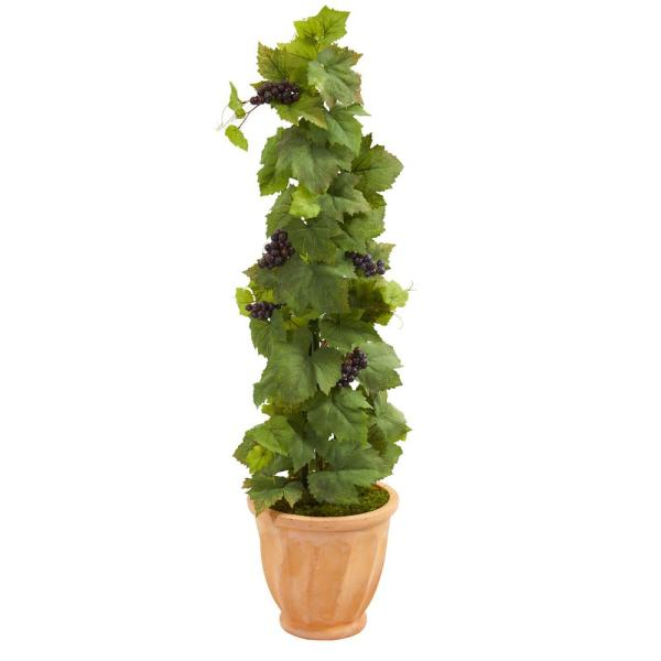 Nearly Natural 4 ft. Indoor Grape Leaf Artificial Plant in Terracotta