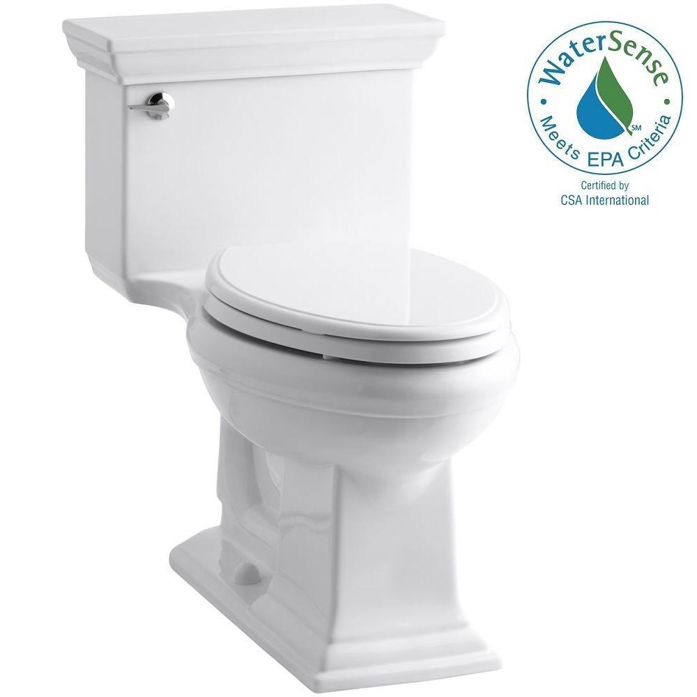 KOHLER Memoris Stately 1-Piece 1.28 GPF Single Flush Elongated Toilet with AquaPiston Flush Technology in White