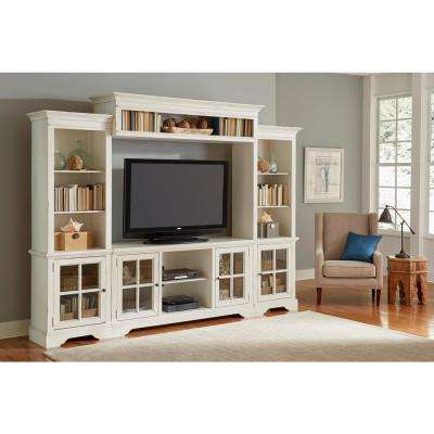 Charleston 118 in. Bone Wood Entertainment Center Fits TVs Up to 70 in. with Storage Doors